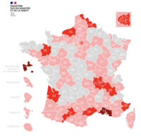 Several departments in France are now RED