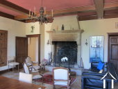 grand salon with Burgundy stone fireplace