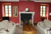 with Stone fireplace asnd beams